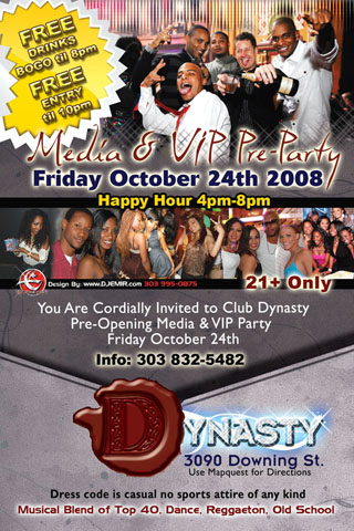 Dynasty Nightclub Pre Opening Party Flyer Design
