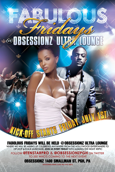 Fabulous Fridays flyer design for Obssesionz Ultra Lounge PA