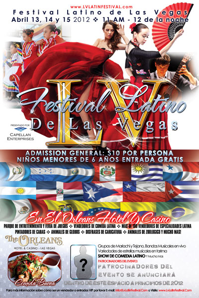 Las Vegas Latin Festival Preliminary Poster and Flyer Designs Spanish Side with Flamenco Dancers