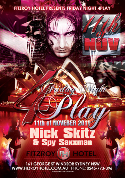 4play Fridays Sydney Australia Flyer design