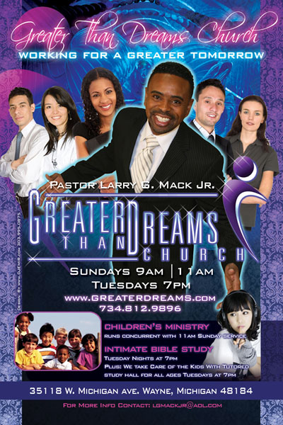 Greater Than Dreams Church Flyer Design Michigan