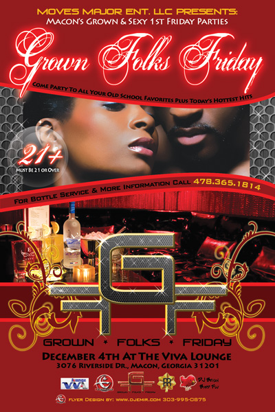 Flyer Design Grown Folks Friday Macon Georgia Front Flyer Design