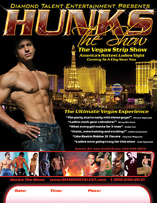 Hunks The Show Vegas Nightclub Male Review Flyer design