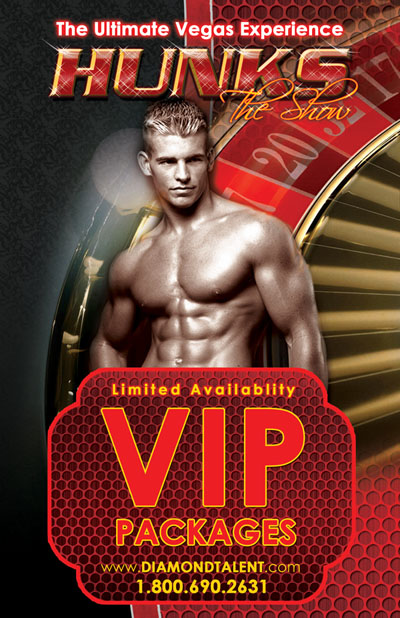 Hunks The Show All Male Revue VIP Packages Flyer Design