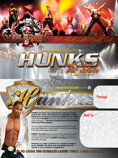 Hunks Rent A Hunk Ultimate Ladies Night Postcard Flyer design