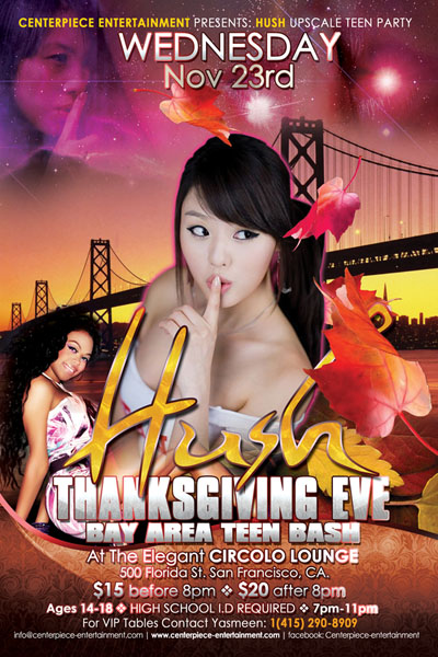 Hush Thanksgiving Day Eve Teen Party Flyer