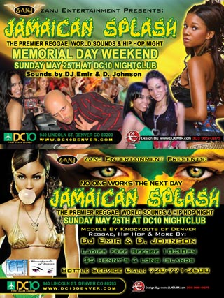 Jamaican Splash Flyer Design DC10 Nightclub Denver CO