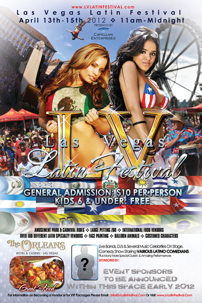 Las Vegas Latin Festival Preliminary Poster and Flyer Designs English Side with Puerto Rican Gilr and Mexican Girl