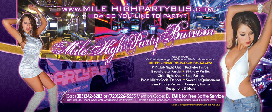 Mile High Party Bus Denvers Premier Party Bus & Limosine Company Flyer Design