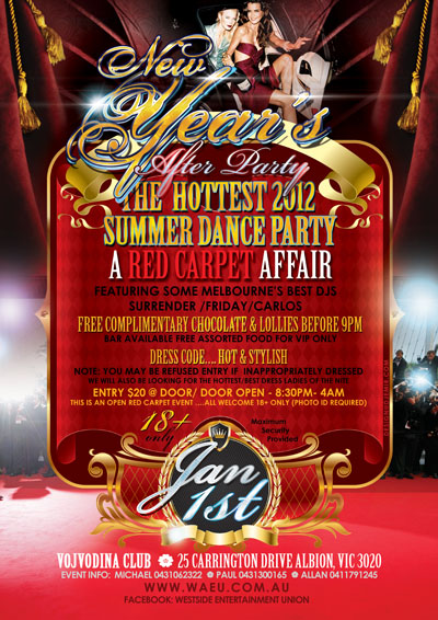 New Years Eve After Party Red Carpet Affair Flyer Design Australia Back