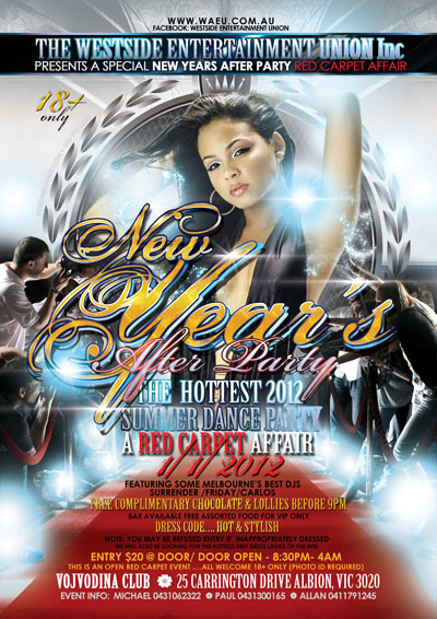 New Years Eve After Party Red Carpet Affair Flyer Design Australia