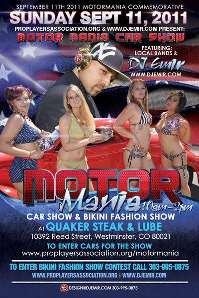 Motor Mania Car Show and Bikini Fashion Show Flyer Design Denver