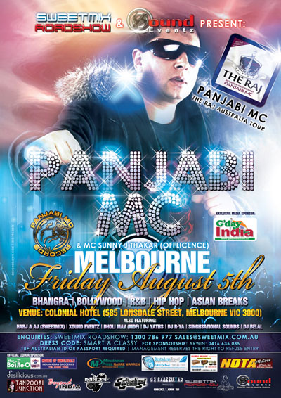 Flyer Design Punjabi MC Melbourne Australia August 5th 2011 Colonial Hotel