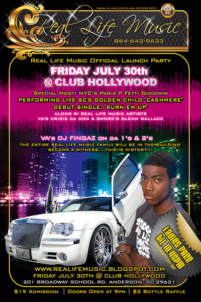 Real Life Music Launch party Flyer for Club Hollywood Flyer Design Front