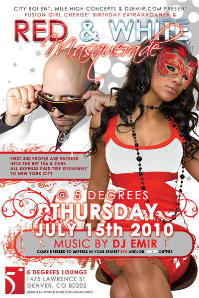 Red and White Masquerade Party Flyer Design for 5 Degrees Nightclub Denver Lotus Entertainment