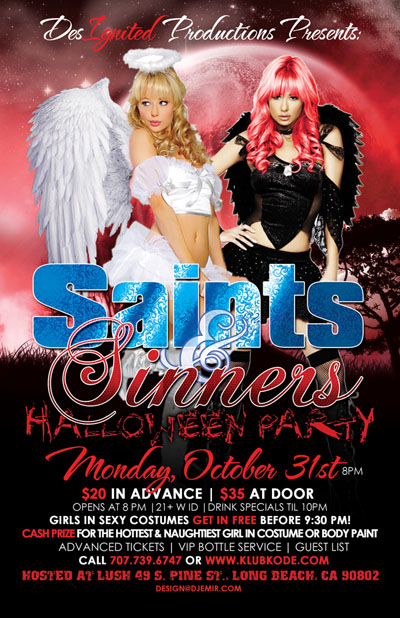 Saints and Sinners Halloween Party Flyer Design Red
