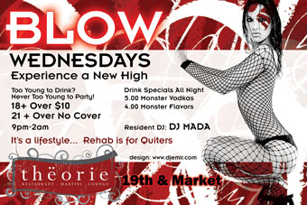 Blow Wednesdays Flyer Back Theorie Nightclub Denver
