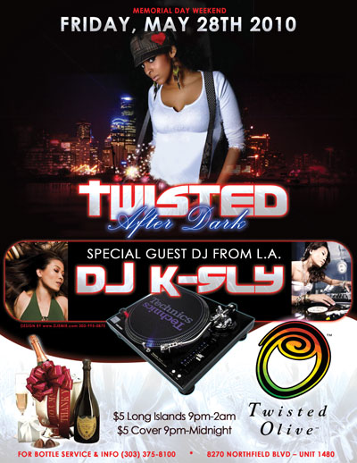 Twisted Olive Memorial Day Weekend Featuring DJ KSly Flyer design for Duane Taylor