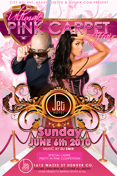 Flyer Design for Ultimate Pink Carpet Affair Pink Party at Jet Hote Denverl w DJ Emir