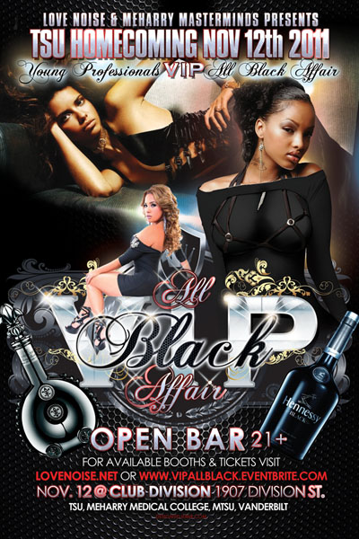 VIP All Black Affair Party Flyer Design Front