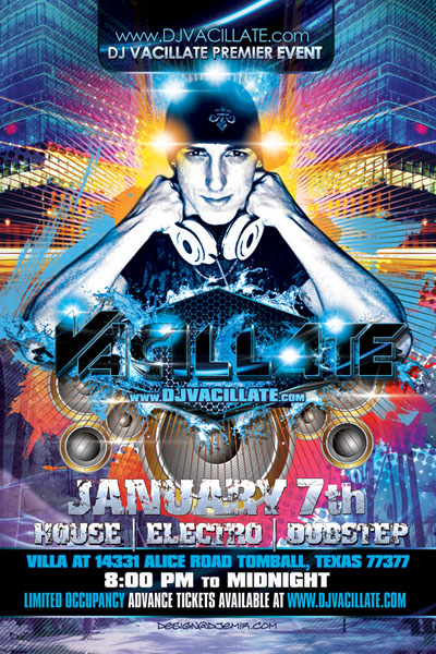 DJ Vacillate Logo and Flyer Design Front