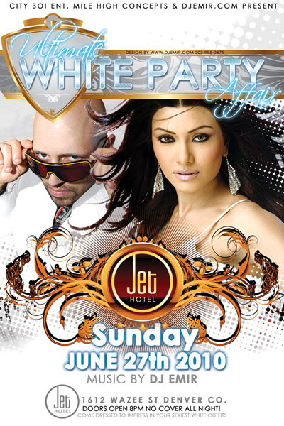 Flyer design for Ultimate White Party at Jet Hote Denverl w DJ Emir