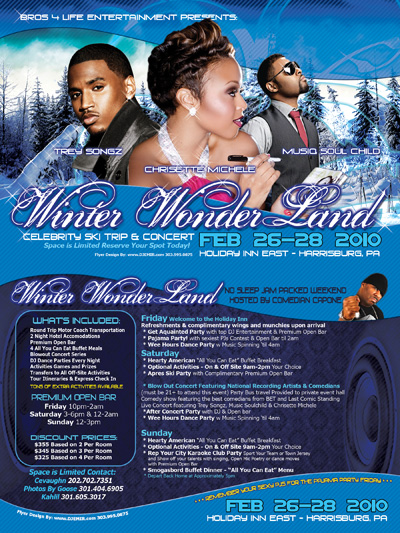 Winter Wonderland Ski Trip and Concert Flyer design feat Trey Songz Musiq Soulchild Chrisette Michele front and back design